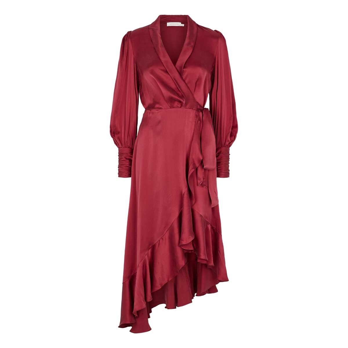 Zimmermann, Silk Wrap Midi Dress, med bindebånd, flæser foran og knapper ved ærmerne