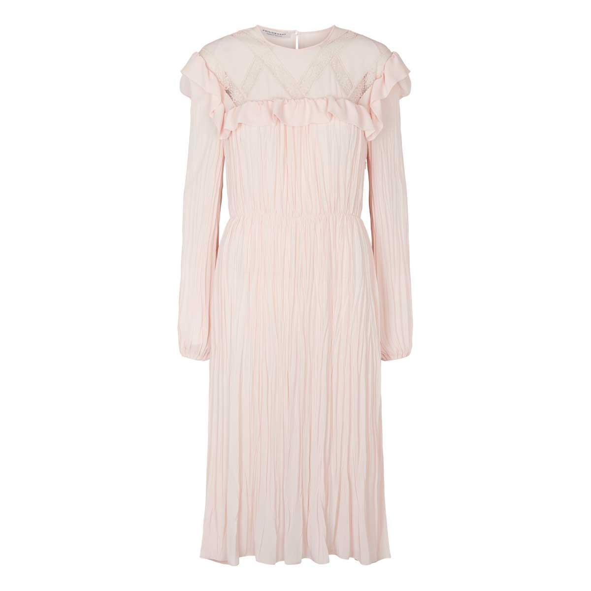 Philosophy mellemlang kjole med blød plisse Rosa