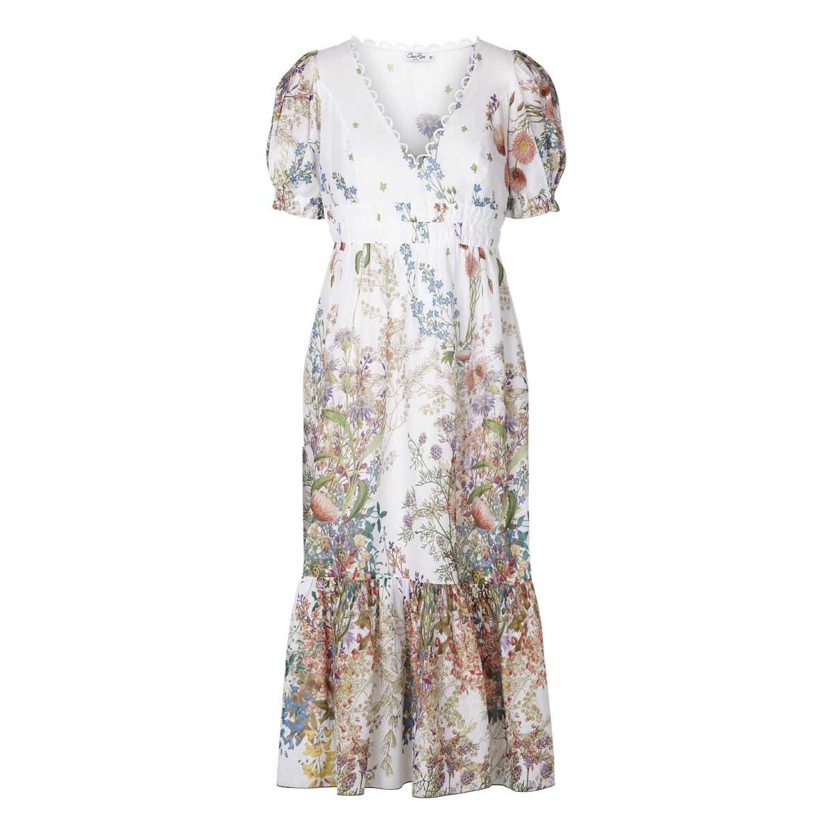 Charo Ruiz, Liberty Long Dress Hvid m.blomster