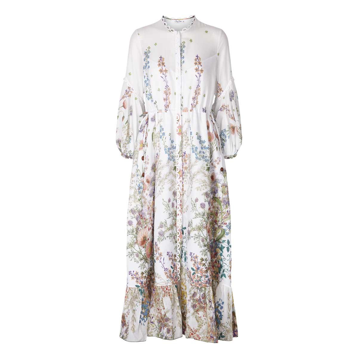 Charo Ruiz, Jeanette Long Dres Hvid m.blomster